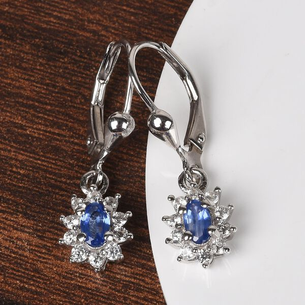 Burmese Blue Sapphire and Natural Cambodian Zircon Earrings in Platinum Overlay Sterling Silver 1.00 Ct.