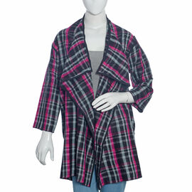 Designer Inspired - Pink, Grey and White Checker Pattern Cardigan Size 85x55 Cm