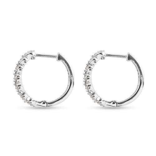 J Francis Platinum Overlay Sterling Silver Full Hoop Earrings (with Clasp) Made with SWAROVKSI ZIRCONIA 1.76 Ct.