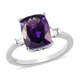 Moroccan Amethyst and Diamond Ring in Platinum Overlay Sterling Silver 3.04 Ct.