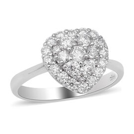 Moissanite Heart Ring in Rhodium Overlay Sterling Silver 1.00 Ct.