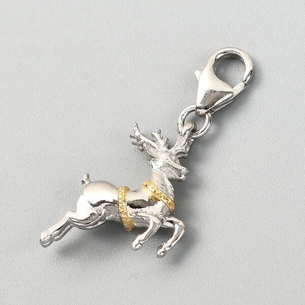 Platinum and Yellow Gold Overlay Sterling Silver Deer Charm