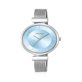 Pulsar Ladies Blue Dial Stainless Steel Mesh Bracelet 50M Watch