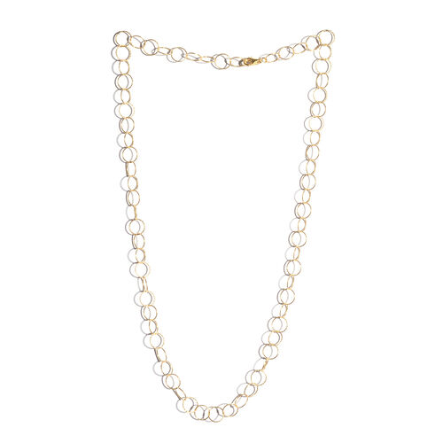 JCK Vegas Collection 14K Gold Overlay Sterling Silver Diamond Cut Open Circle Chain (Size 24), Silver wt 7.01 Gms.