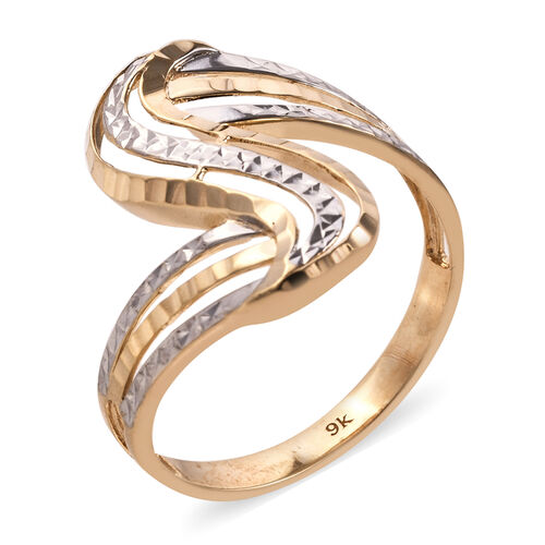 One Time Mega Deal-Royal Bali Collection 9K Yellow and White Gold Diamond Cut Ring