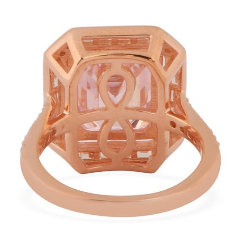 ELANZA Simulated Pink Diamond and Simulated White Diamond Ring in Rose Gold Overlay Sterling Silver 8.70 Ct.