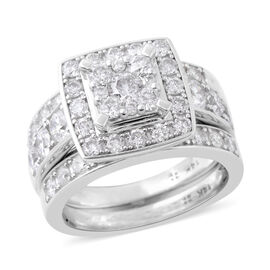 3 Piece Set New York Close Out 2 Carat Diamond Cluster Ring in 14K White Gold 9.20 Grams I1 I2 GH