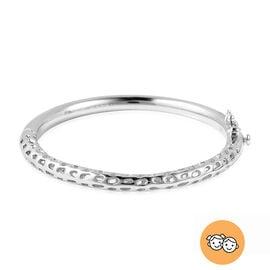 RACHEL GALLEY Rhodium Overlay Sterling Silver Allegro Kids Bangle (Size 4.95), Silver wt 11.95 Gms