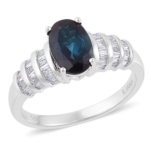 ILIANA 18K White Gold AAA Mutuca Indicolite (Ovl 1.50 Ct), Diamond (SI/G-H) Ring 1.750 Ct.