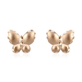 Royal Bali Collection 9K Yellow Gold Diamond Cut Butterfly Stud Earrings (with Push Back).Gold WT 1.