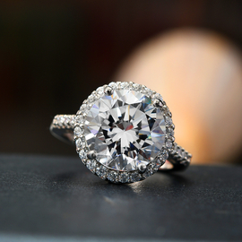 J Francis Platinum Overlay Sterling Silver Ring Made with SWAROVSKI ZIRCONIA 10.55 Ct.