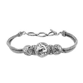 Royal Bali Horse Tulang Naga Bracelet in Sterling Silver 7.5 Inch with Extender
