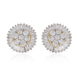 9K Yellow Gold SGL Certified Diamond (Rnd and Bgt) (I3/G-H) Stud Earrings (with Push Back) 1.000 Ct.