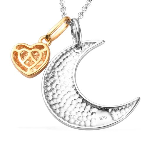 Platinum and Yellow Gold Overlay Sterling Silver Crescent Moon & Mum Pendant With Chain (Size 18), Silver wt 5.80 Gms