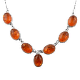 Baltic Amber Beaded Necklace in Sterling Silver 18 Grams 20 Inch