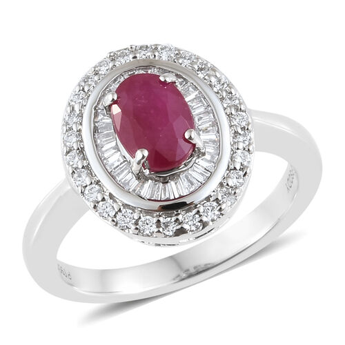 RHAPSODY 1.35 Ct AAAA Burmese Ruby and Diamond Double Halo Ring in 950 Platinum 7 Grams
