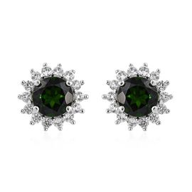 AAA Russian Diopside (1.80 Ct),Cambodian Zircon 9K W Gold Earring  2.350  Ct.