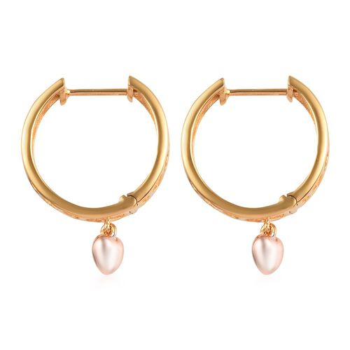 Rose and Yellow Gold Overlay Sterling Silver Heart Charm Earrings (with Clasp)