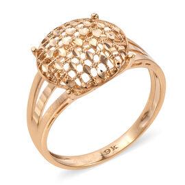 Royal Bali Diamond Cut Pebble Checker Pattern Ring in 9K Gold 2.30 Grams