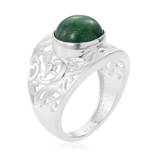 Enhanced Emerald (Rnd) Ring in Sterling Silver 3.980 Ct.