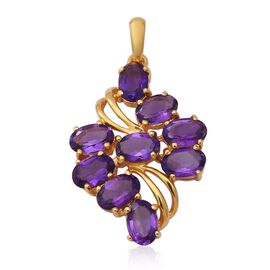 3.69 Ct Amethyst Cluster Pendant in Sterling Silver