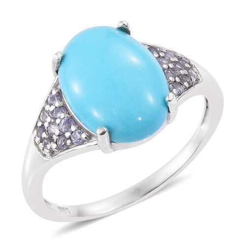 Arizona Sleeping Beauty Turquoise (Ovl 3.50 Ct), Tanzanite Ring in Platinum Overlay Sterling Silver