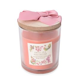 Fragrance Candle with Wooden Cover (Sweet Pea and Freesia Fragrance)