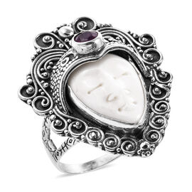 Royal Bali 12.79 Ct OX Carved Bone Face and African Ruby Ring in Sterling Silver 9.61 Grams