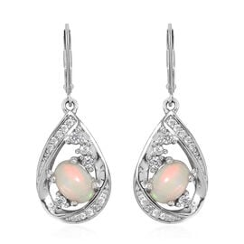 1.6 Ct Ethiopian Opal and Cambodian Zircon Drop Earrings in Sterling Silver 4.5 Gms With Lever Back