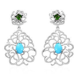 GP Arizona Sleeping Beauty Turquoise (Pear), Russian Diopside and Blue Sapphire Chandelier Earrings