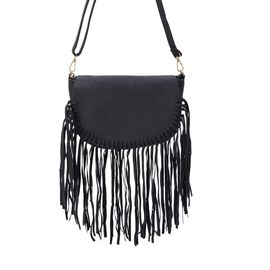 Black Colour Crossbody Bag with Fringes and Adjustable and Removable Shoulder Strap (Size 25.5x17.5x
