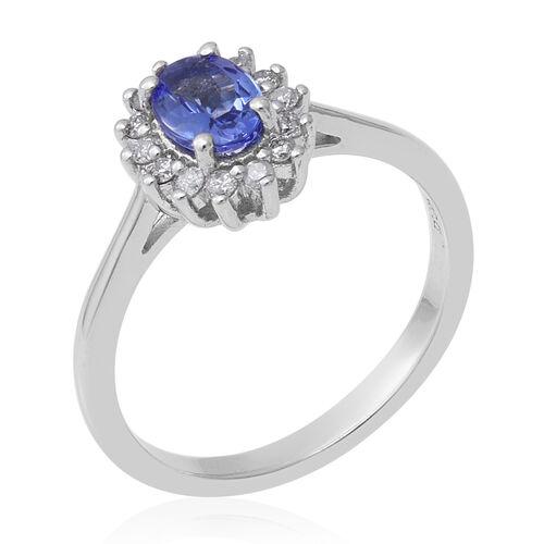Premium Tanzanite (Ovl) and Diamond Ring in Rhodium Overlay Sterling Silver 1.00 Ct