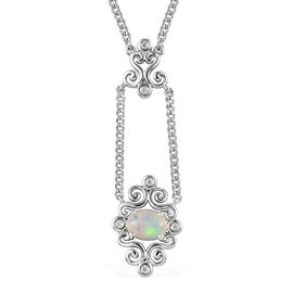 Ethiopian Welo Opal and Natural Cambodian Zircon Necklace (Size 18) in Platinum Overlay Sterling Sil