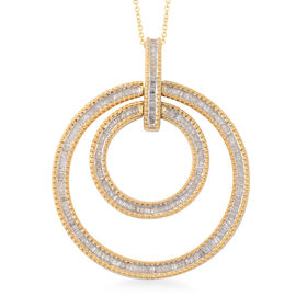 1 Carat Diamond Double Circle Pendant with Chain in 14K Gold Plated Silver 10.50 Grams 18 Inch