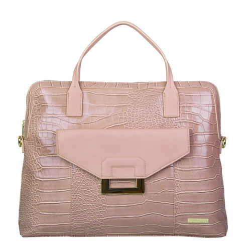 Bulaggi Collection - Cynthia Croco Print Laptop Bag with Slip Pocket at Front (40x31x06cm) - Dusty P