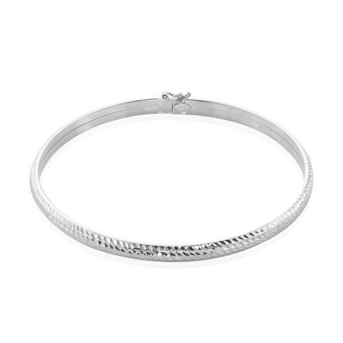 9K White Gold Diamond Cut Bangle (Size 7.5), Gold wt 3.60 Gms