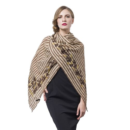 One Time Deal-100% Super Soft Wool Chocolate, Golden and Beige Colour Stripes and Rose Pattern Scarf