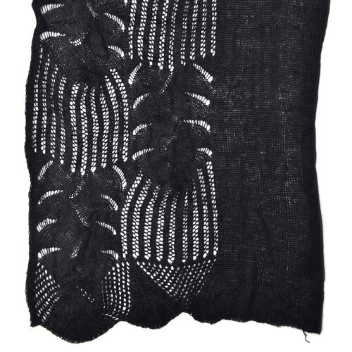 Lace Design Black Colour Knitted Scarf (Size 180x60 Cm)