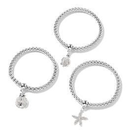 Set of 3 White and Black Austrian Crystal Charm Bracelet (Size 7) in Silver Tone