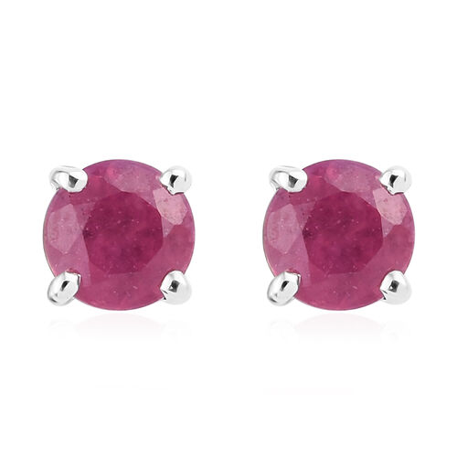 9K White Gold AAA  African Ruby (Rnd) Stud Earrings (With Push Back) 0.750 Ct.
