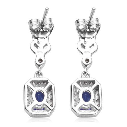 Premium Tanzanite and Natural Cambodian Zircon Earrings (with Push Back) in Platinum Overlay Sterling Silver 1.03 Ct.