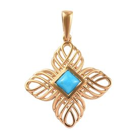 1 Carat Arizona Sleeping Beauty Turquoise Floral Pendant in Gold Plated Sterling Silver