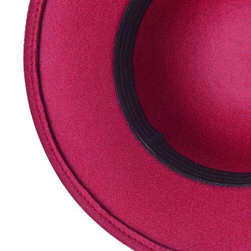 Wine Red Colour Flower Adorned Hat (Size 30X16 Cm)
