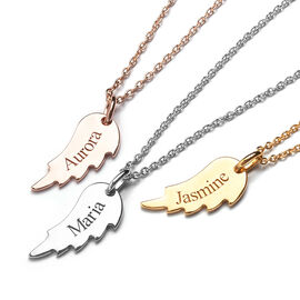 Personalised Engraved Angel Wings Pendant with 20Inch Chain in Silver
