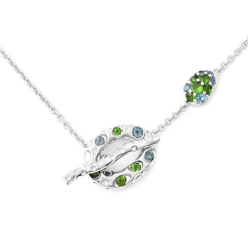 RACHEL GALLEY Misto Collection - AA Russian Diopside and London Blue Topaz Necklace (Size 20) in Rho