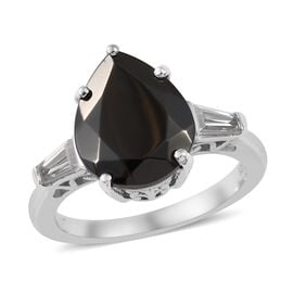 3 Carat Elite Shungite and Zircon Solitaire Ring in Platinum Plated Silver