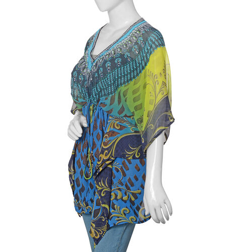 Blue, Chocolate and Multi Colour Crystal Embellished Digital Printed Top (Size 80x65 Cm)