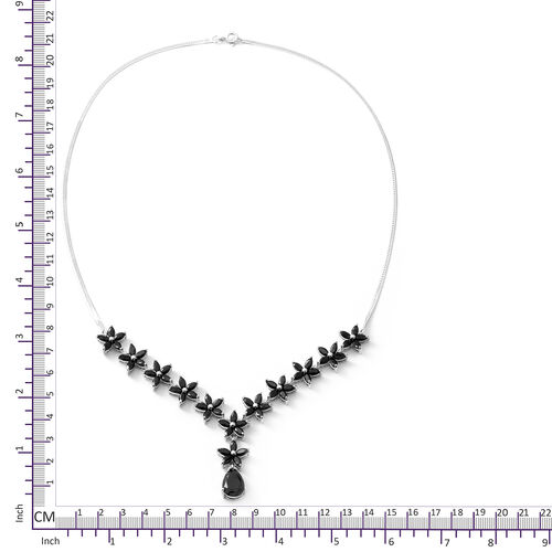 Boi Ploi Black Spinel (Pear) Necklace (Size 18) in Rhodium Overlay Sterling Silver 15.210 Ct, Silver wt 11.70 Gms.