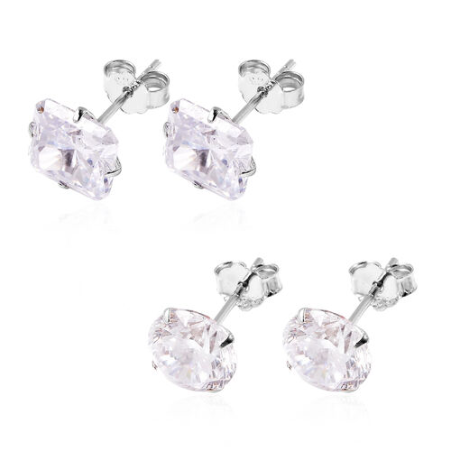 Chrismas Bauble Earring- Set of 2 - ELANZA AAAA Special Radiant Cut Simulated Diamond Stud Earrings (with Push Back)  in Rhodium Overlay Sterling Silver