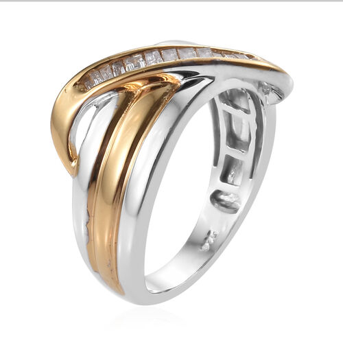 Diamond (Bgt) Ring in Platinum and Yellow Gold Overlay Sterling Silver 0.150 Ct.